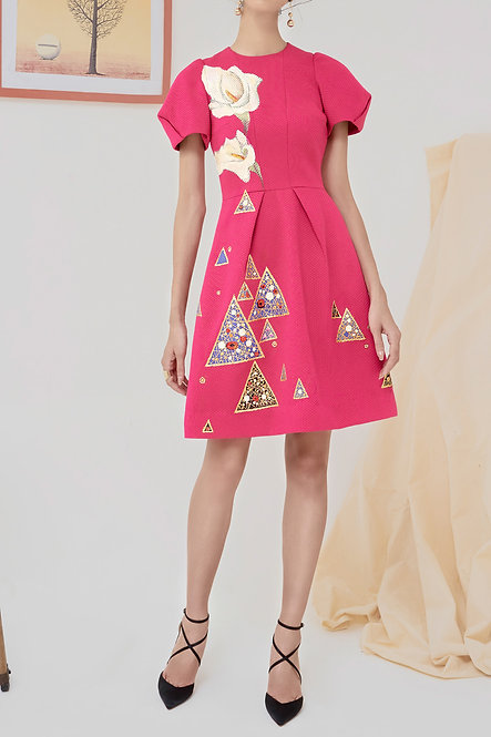 ARUM-PAINTED MINI PINK DRESS