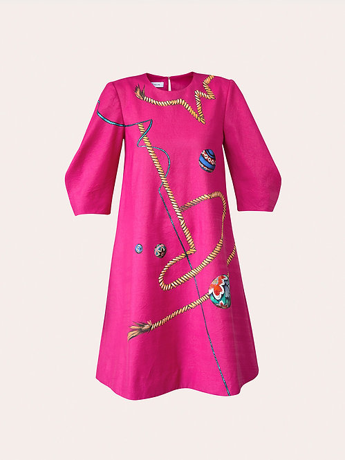 ROPES-PAINTED MINI PINK DRESS