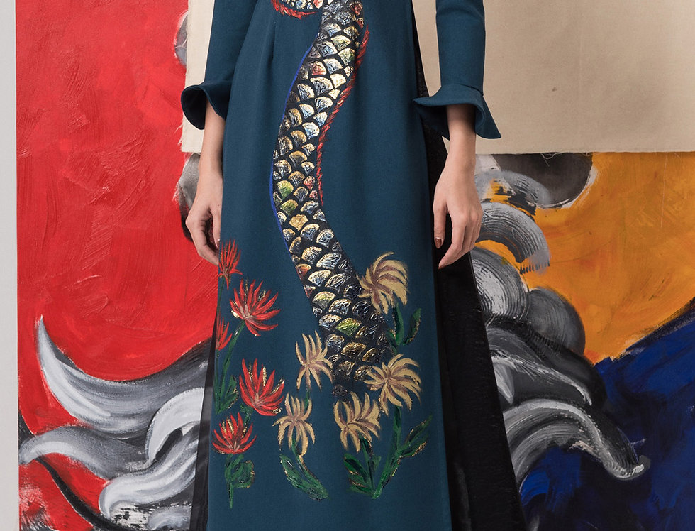 DRAGON-PAINTED CONTEMPORARY AODAI