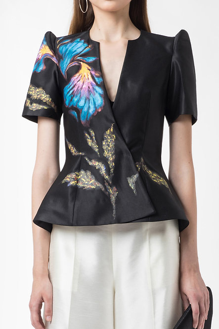 IRIS-PAINTED DOUBLE BREASTED  PEPLUM TOP