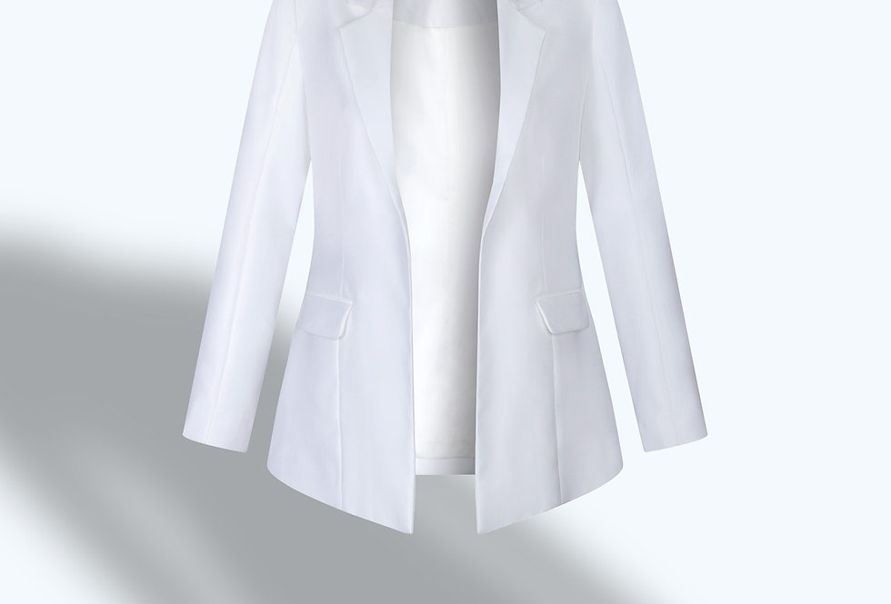 SINGLE-BREASTED WHITE TAILORED BLAZER