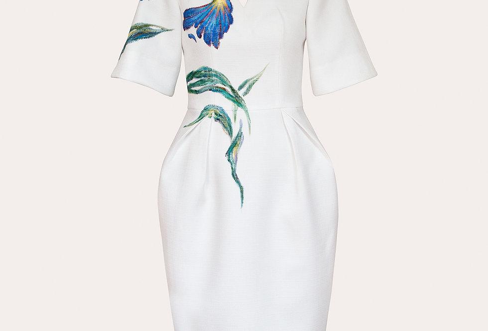 IRIS-PAINTED TWEED MIDI WHITE DRESS