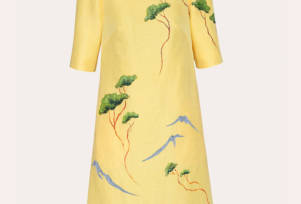 FLYING FOREST-PAINTED MINI  YELLOW DRESS