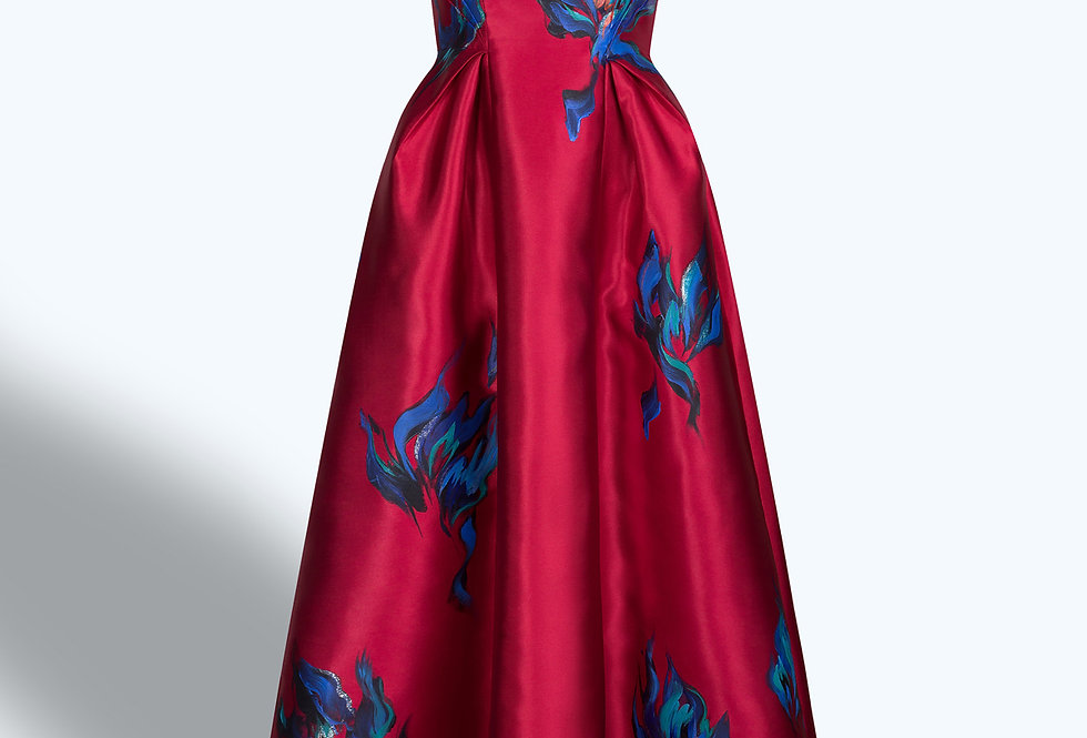 BURNING FLOWERS-PAINTED RED GOWN DRESS