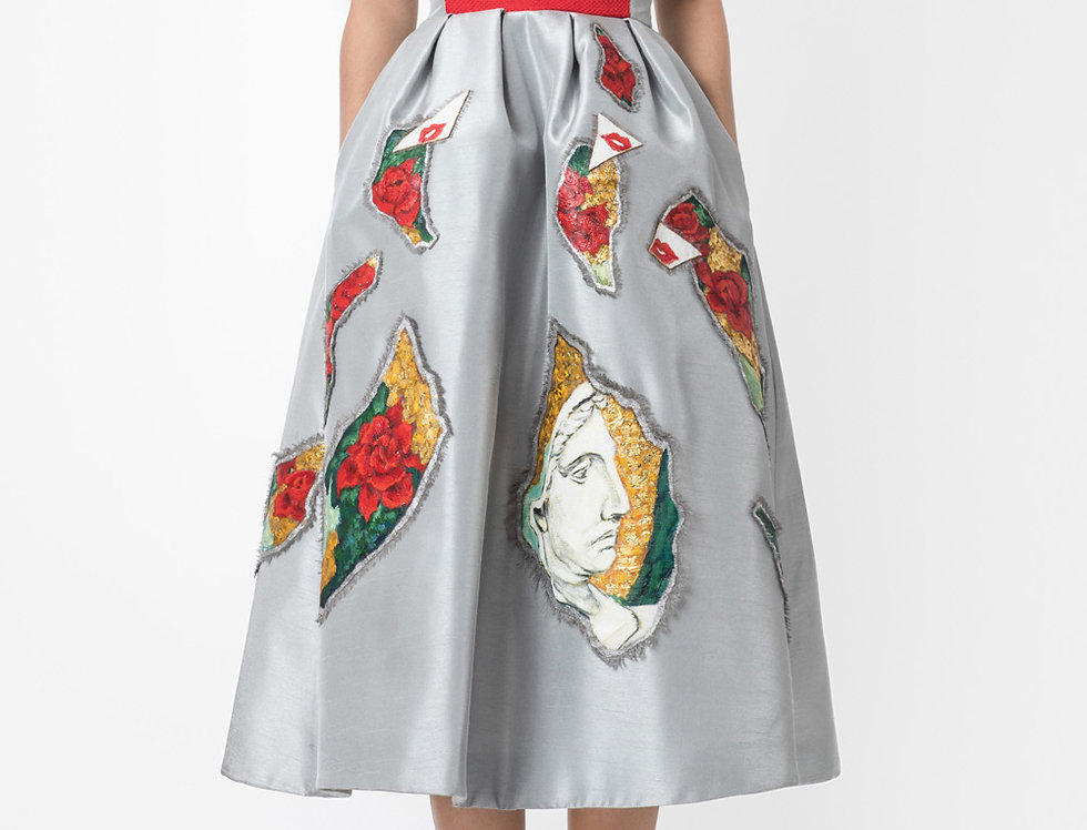 ROSE GARDEN-PAINTED STRAPLESS MIDI DRESS