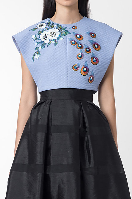 FLORAL-PAINTED SLEEVELESS TOP