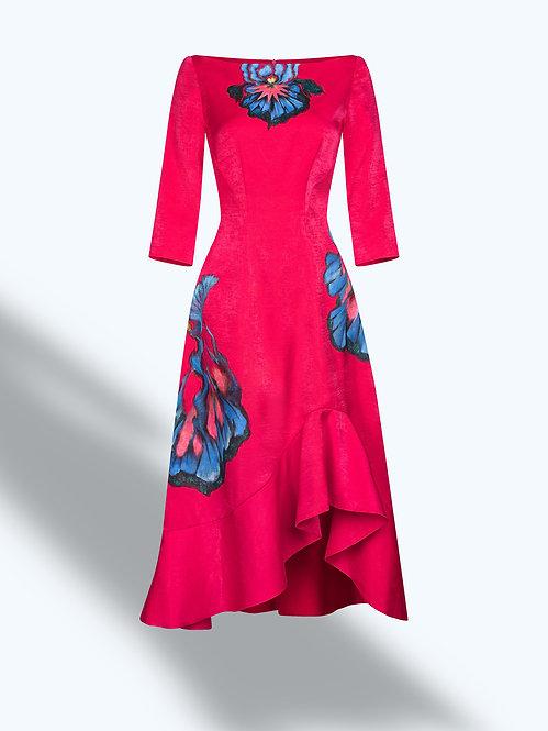 IRIS FLOWERS-PAINTED EVENING DRESS