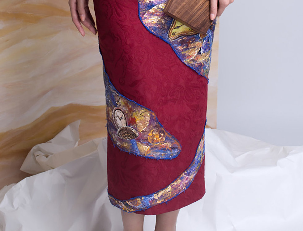 GALAXY-PAINTED BROCADE PENCIL SKIRT