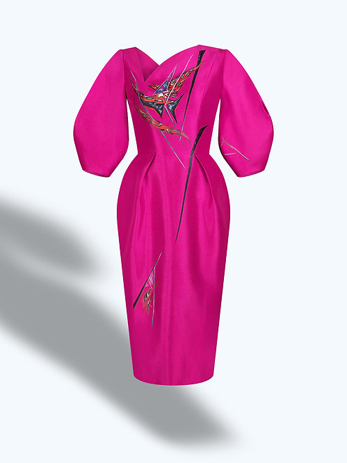 CACTUS FLOWERS-PAINTED VOLUMINOUS SLEEVE PINK DRESS