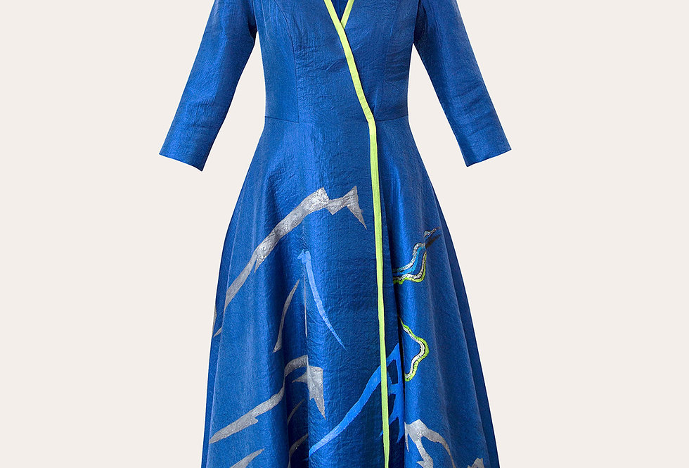 MOUNTAIN-PAINTED TAFFETA WRAP MIDI DRESS