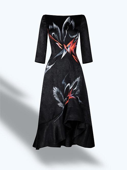 SWANS X AMARYLLIS-PAINTED EVENING BLACK DRESS