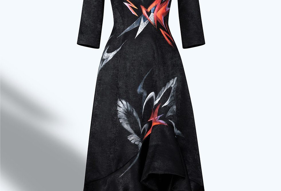 SWANS X AMARYLLIS-PAINTED EVENING BLACK DRESS
