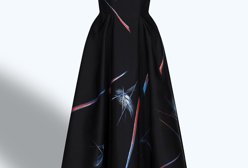 CACTUS FLOWERS-PAINTED  BLACK GOWN DRESS