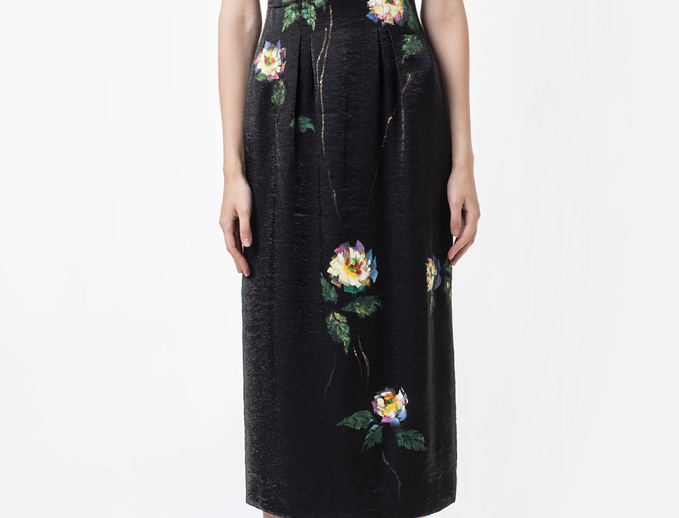 ROSE-PAINTED TAFFETA BLACK DRESS
