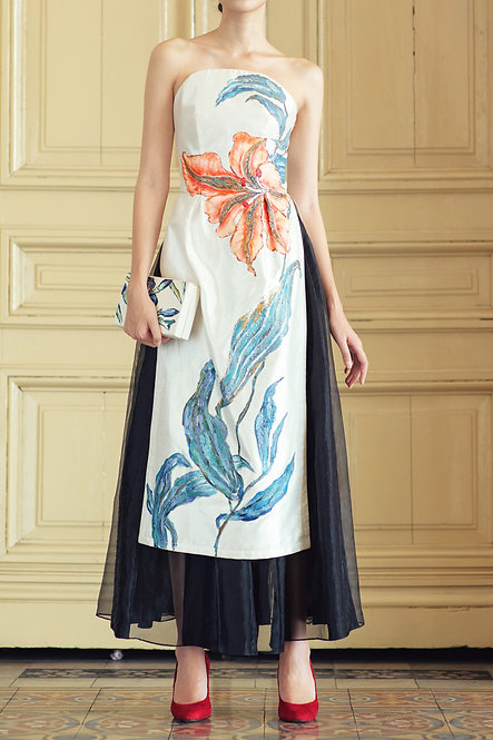 LYLY-PAINTED STRAPLESS AODAI