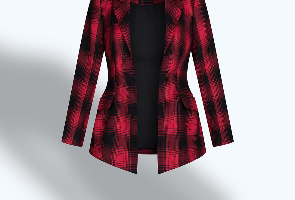 SINGLE-BREASTED RED  PLAID TAILORED BLAZER
