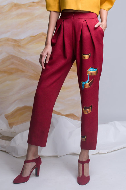 SURREALISM-PAINTED DARK RED PEGGED PANTS