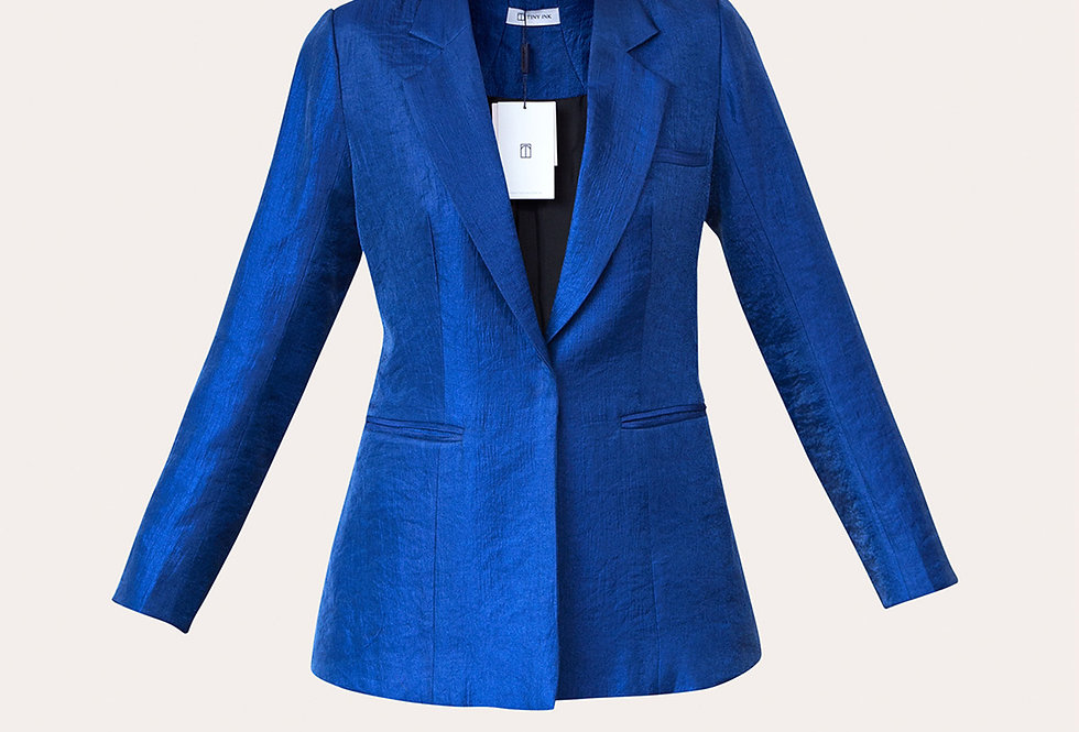SINGLE-BREASTED NAVY BLUE TAFFETA BLAZER