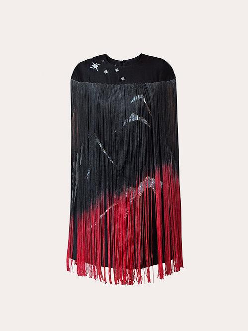 MOUNTAIN-PAINTED BLACK TASSELS DRESS