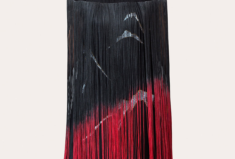 MOUNTAIN-PAINTED BLACK TASSELS DRESS