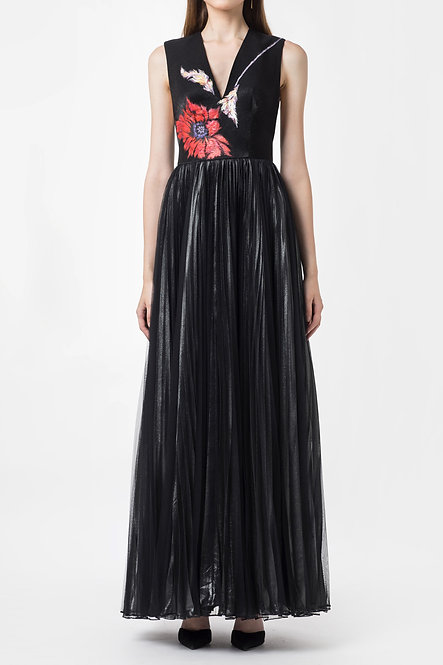 POPPY-PAINTED PLEATED GOWN DRESS
