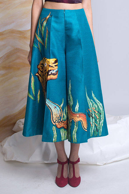 """""""TIGER AMONG THE JUNGLE""""-PAINTED WIDE LEG PANTS"""