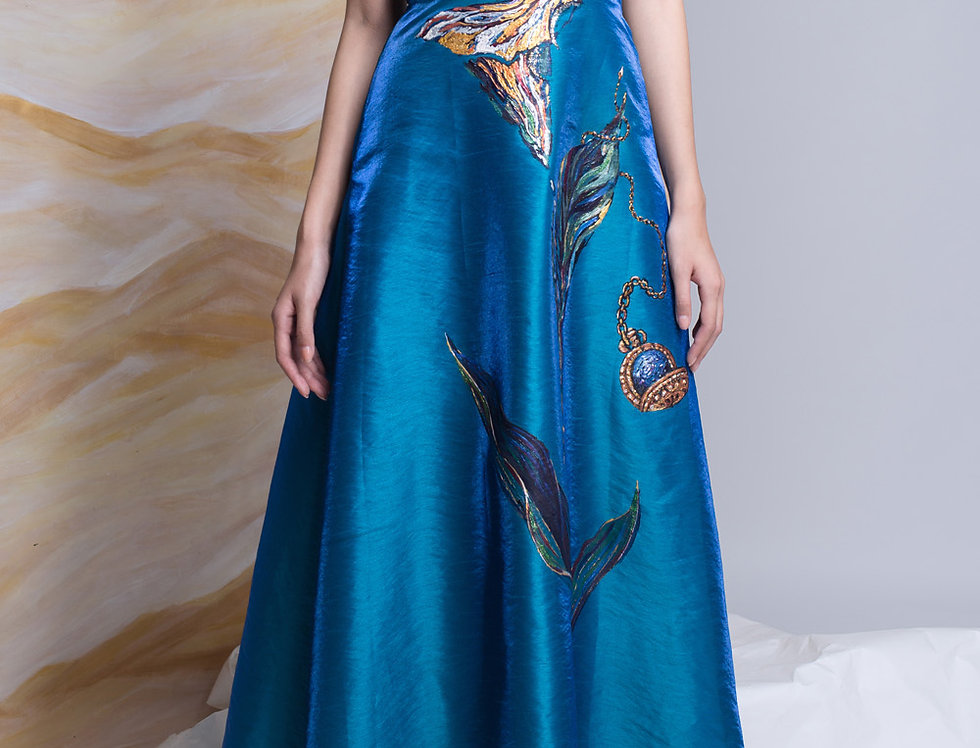 LYLY-PAINTED  OFF-THE-SHOULDER EVENING DRESS