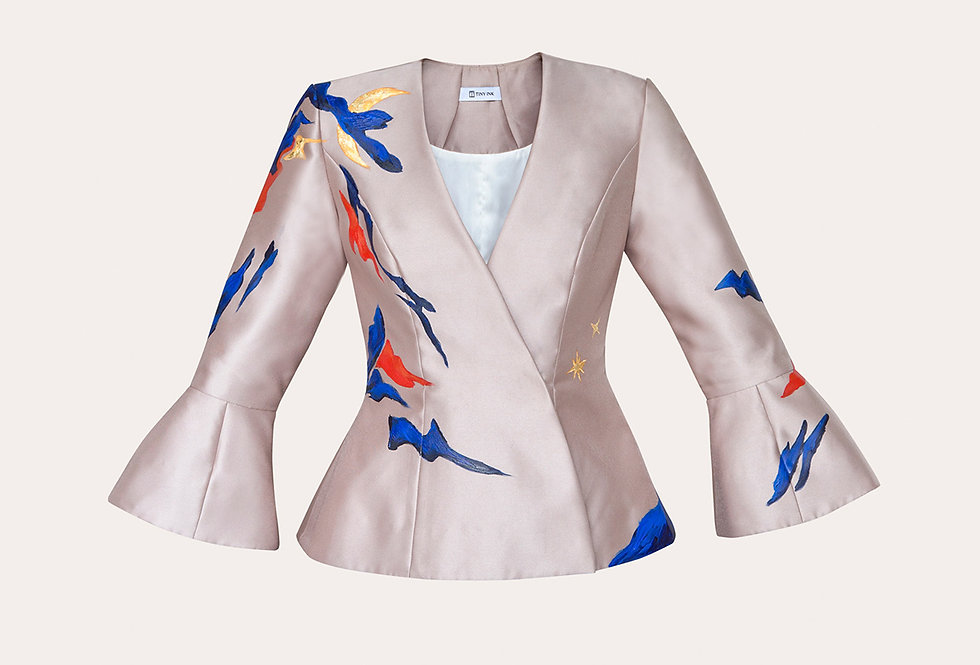 MOUNTAIN-PAINTED DOUBLE-BREASTED  JACKET