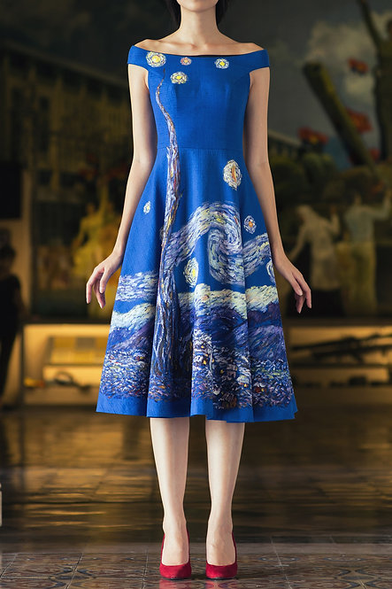 STARRY NIGHT-PAINTED OFF-THE-SHOULDER MIDI DRESS