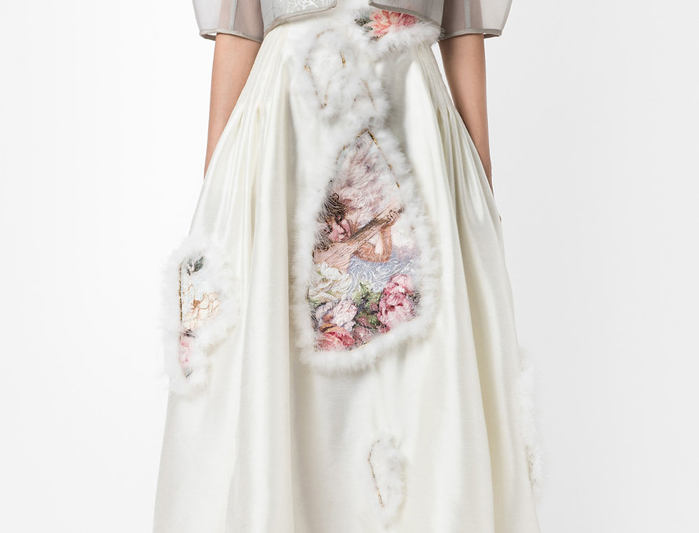 ANGELS IN THE ROSE GARDEN-PAINTED STRAPLESS GOWN DRESS