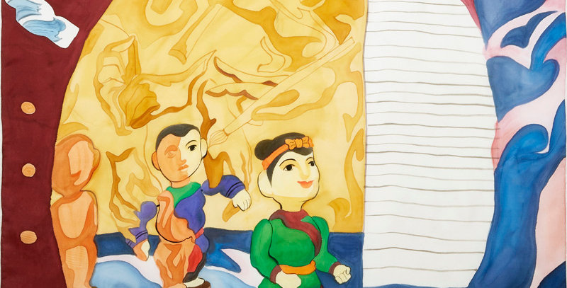 VIETNAMESE WATER PUPPET-PAINTED 90 SQUARE SCARF