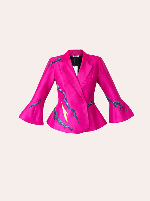 MOUNTAIN-PAINTED DOUBLE BREASTED  PINK JACKET
