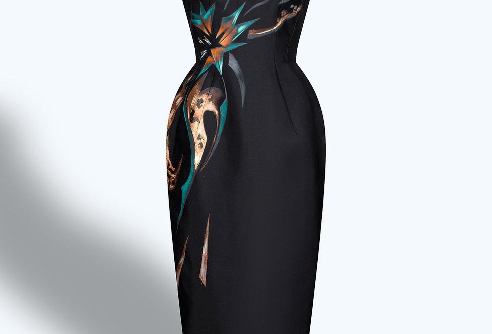 LEOPARD X AMARYLLIS-PAINTED CAP SLEEVE BLACK DRESS