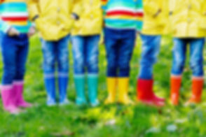 Little kids, boys and girls in colorful