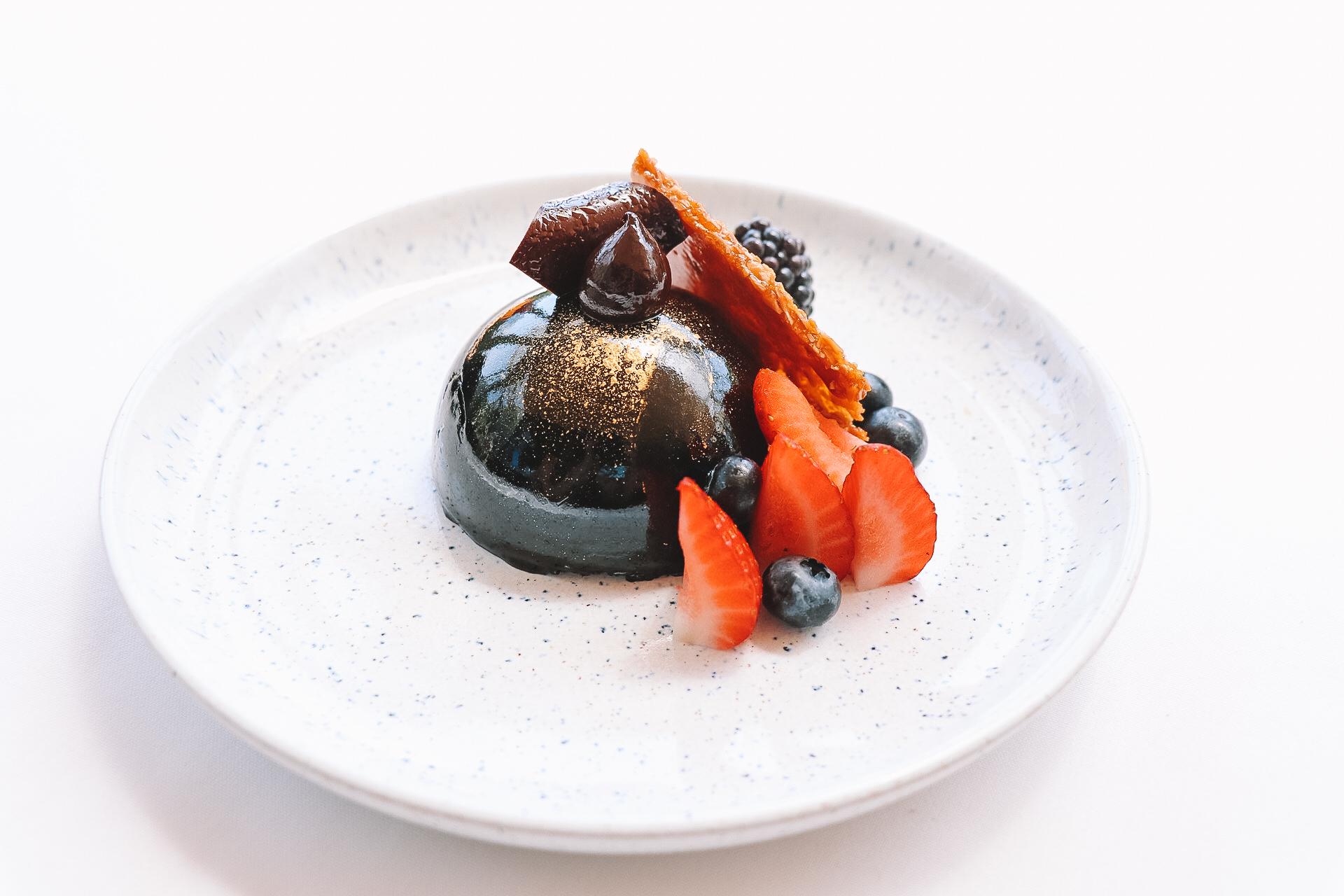 Chocolate dome dessert