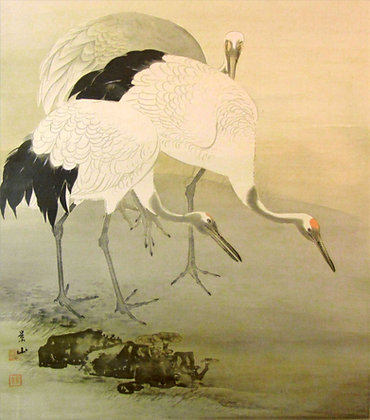 Pair of Kakemono Cranes & Deers