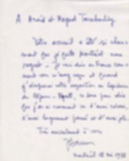 Lapidarius. Daum. Antique Shop. Antiques Montreal. Westmount Store. Art Gallery. Letter from Jacques Daum to Maged and Anaïd Taraboulsy commenting the Daum exibition at the Lapidarius boutique.