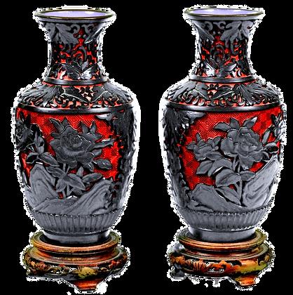 Chinese Cinnabar Vases