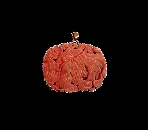 Chinese Phoenix Coral Pendant
