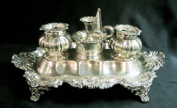 English Silver - Sterling Silver Inkstand