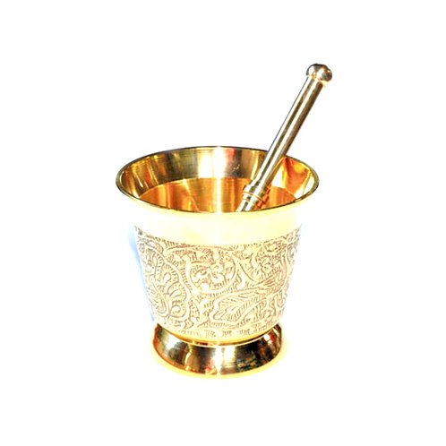 Engraved Brass Mortar and Pestle