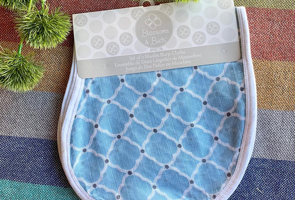 Set of 2 Blue Burp Cloth