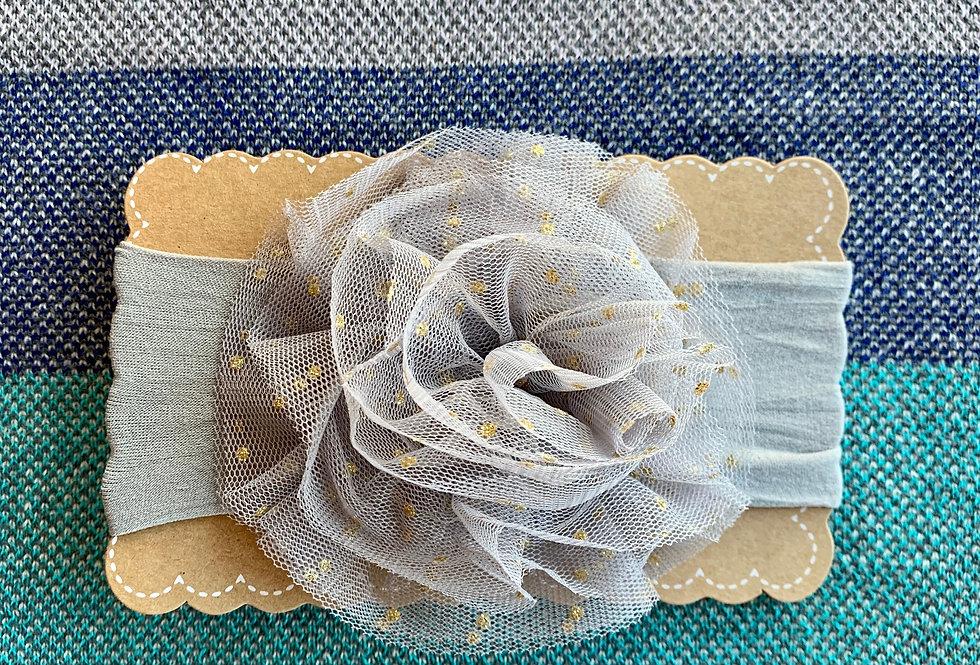 Grey Jumbo Puff Headband