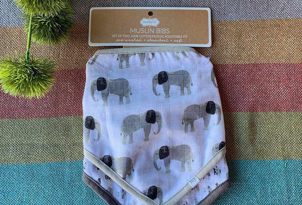 Set of 2 Elephant Muslin Bibs