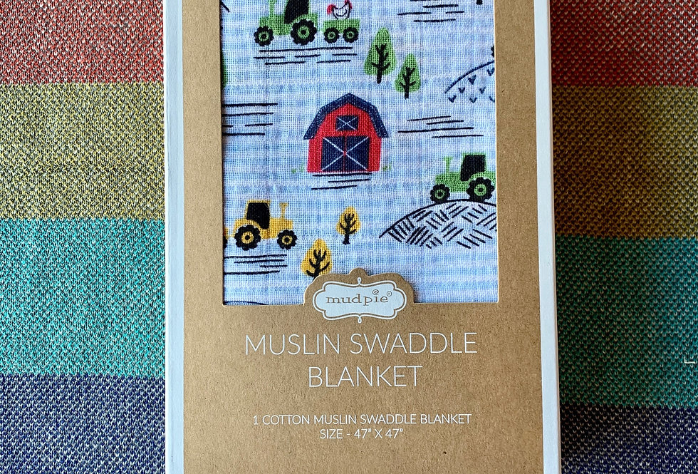 Farmhouse Muslin Swaddle Blanket
