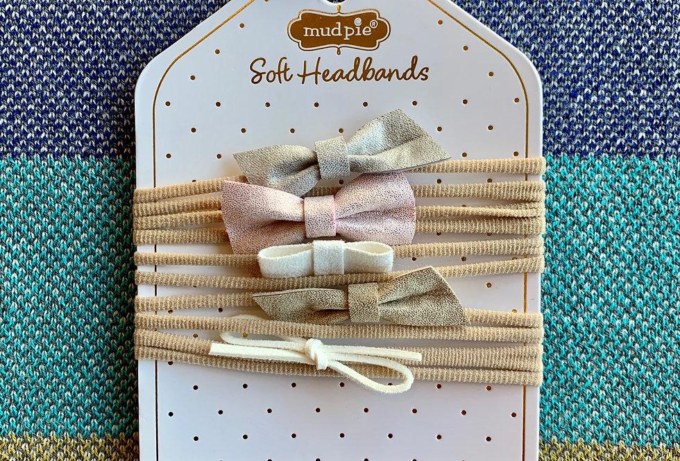 Leather Bow Headband Set