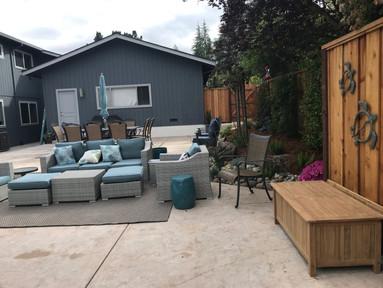 Colored stamped concrete patio