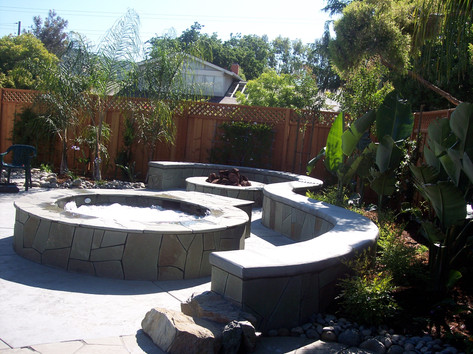 Custom bench, spa and firepit