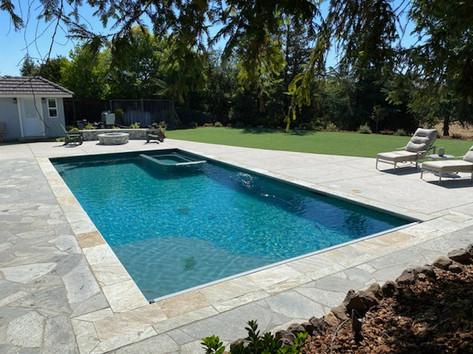 Pool & Spa. Flagstone deck