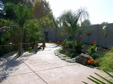 walkway and planters